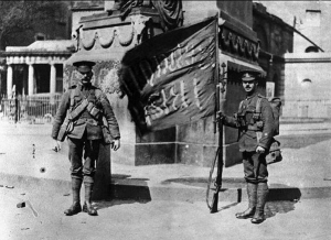 posing with captured flag