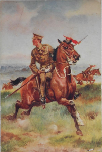 British Cavalry 1914. A Patriotic Postcard by Harry Pane (authors collection)